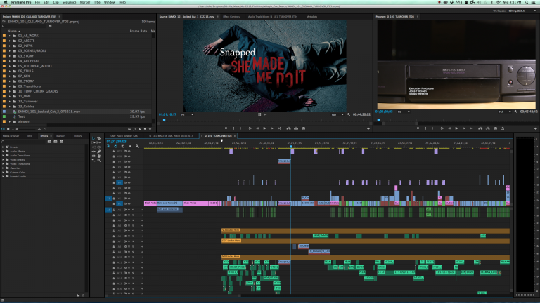 The interface of Adobe Premiere video editor