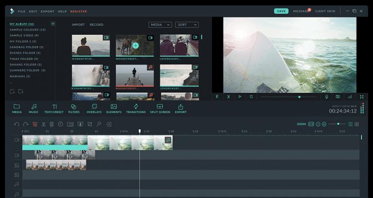 The interface of Filmora video editor