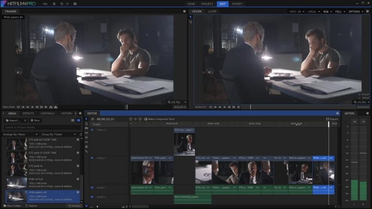 The interface of HitFilm Pro video editor