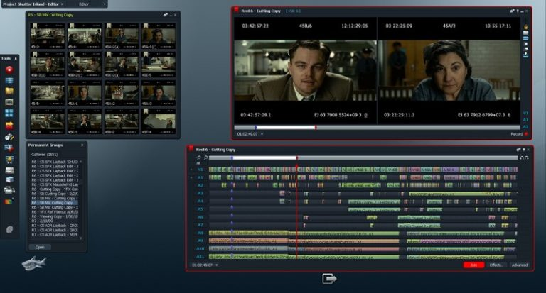 The interface of Lightworks video editor