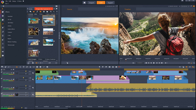 The interface of Pinnacle Studio video editor