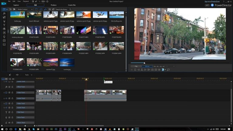 The interface of PowerDirector video editor