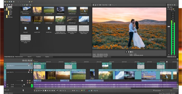 The interface of Vegas Pro Edit video editor