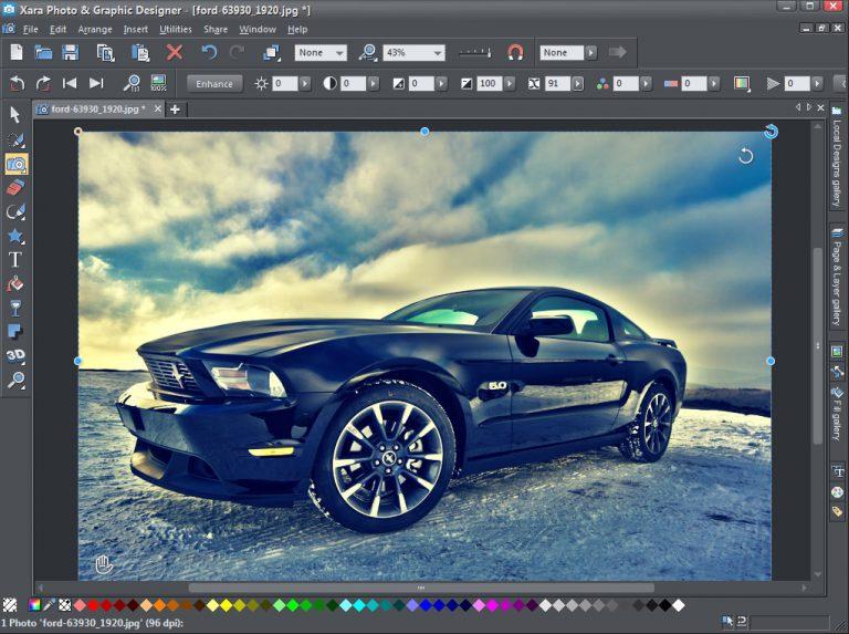 The interface of Xara Photo & Graphic Designer