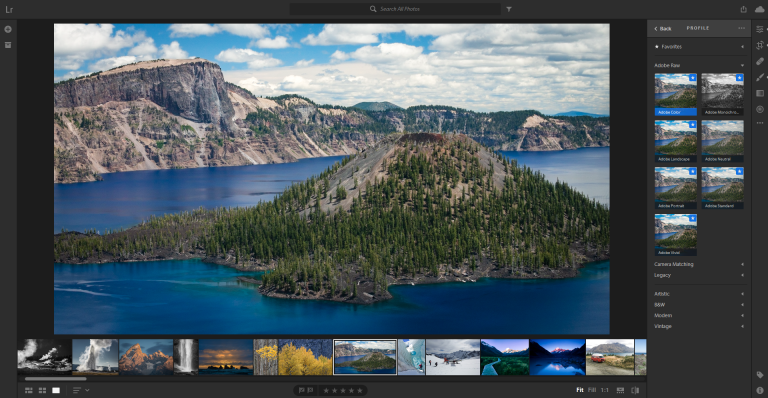The interface of Adobe Lightroom