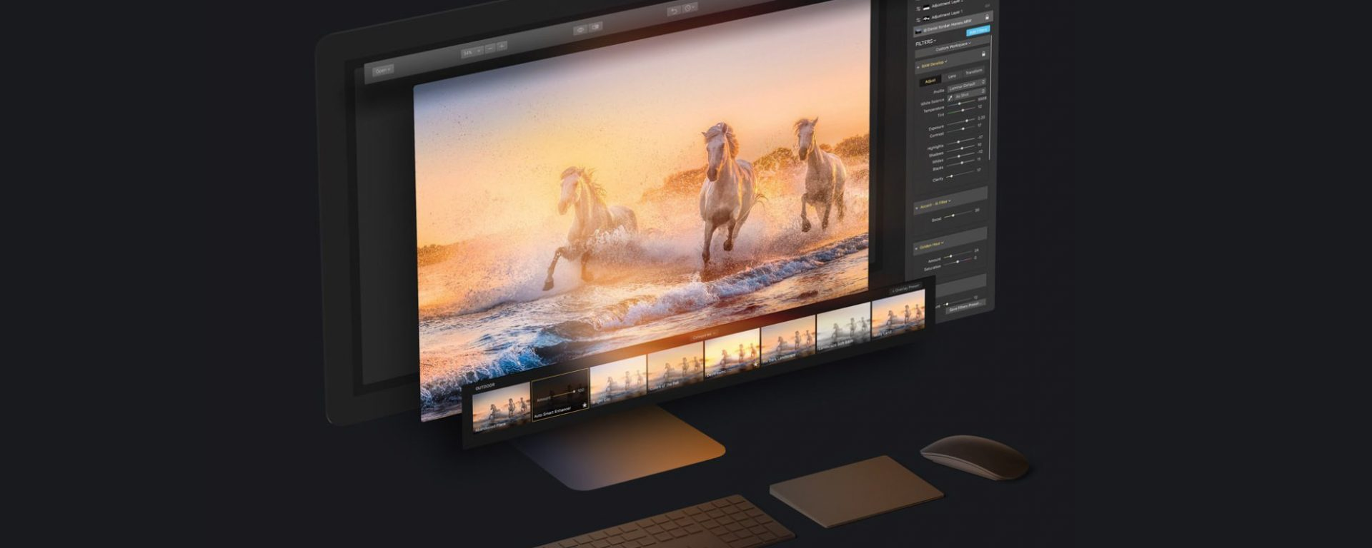 A banner with a picture of horses processed in Luminar photo editing software 1.3.0 update