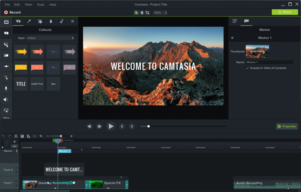 The interface of Camtasia