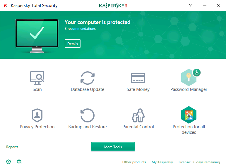 Kaspersky Total Security Interface