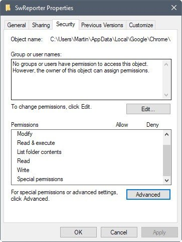 software reporter tool disabling menu in Windows explorer
