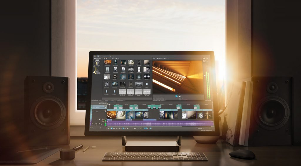 vegas pro 16 interface on the computer in front of the window