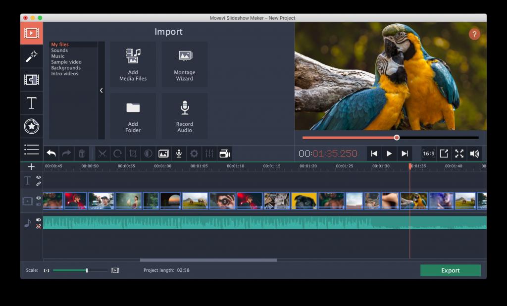 the interface of Movavi Slideshow maker