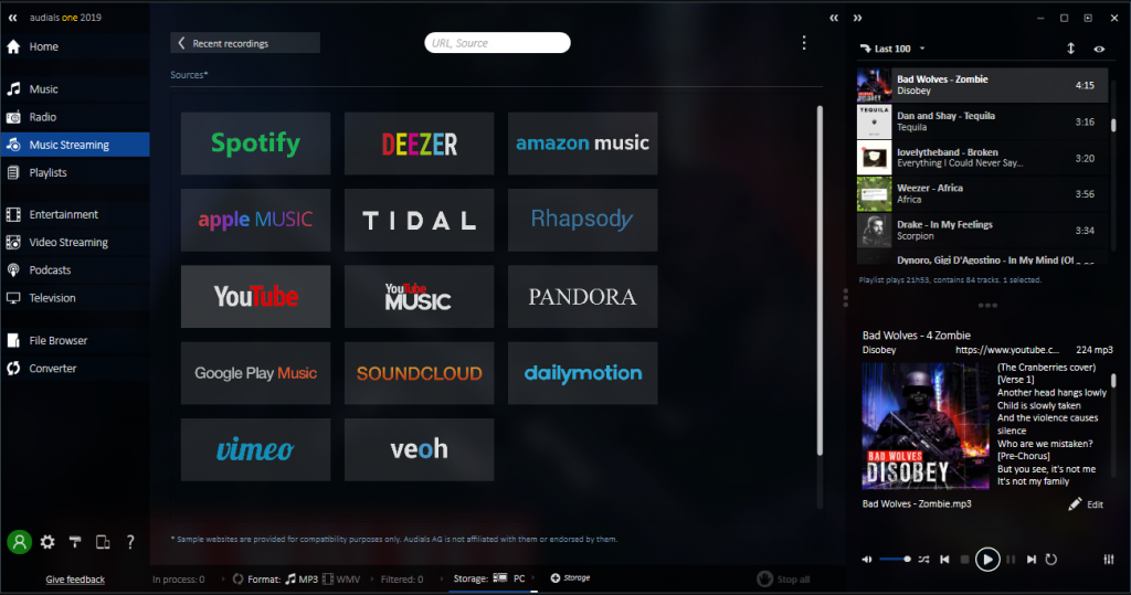 audials one interface - all the services you can access like apple music or spotify