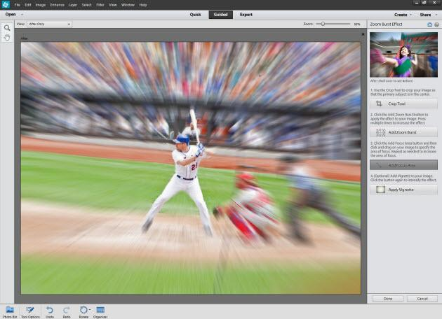 the interface of adobe photoshop elements effects