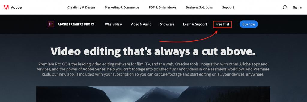 Adobe premiere pro CC trial version