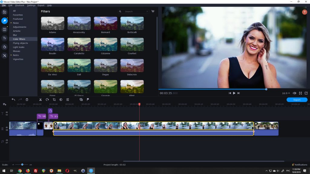 movavi video editor plus color filters