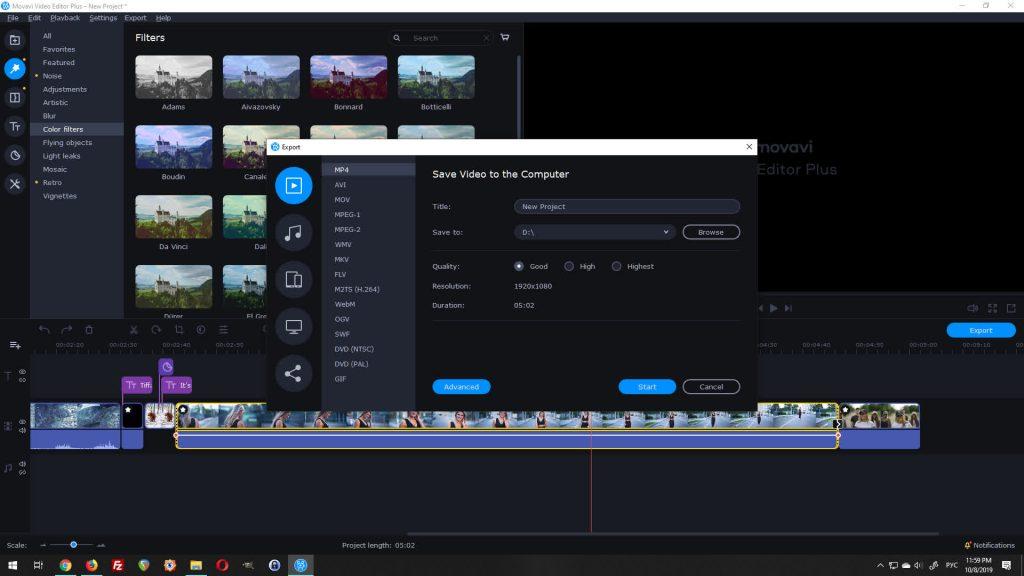 movavi video editor plus export