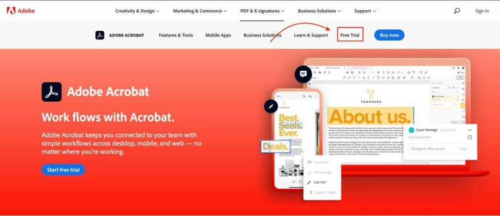Adobe acrobat free trial